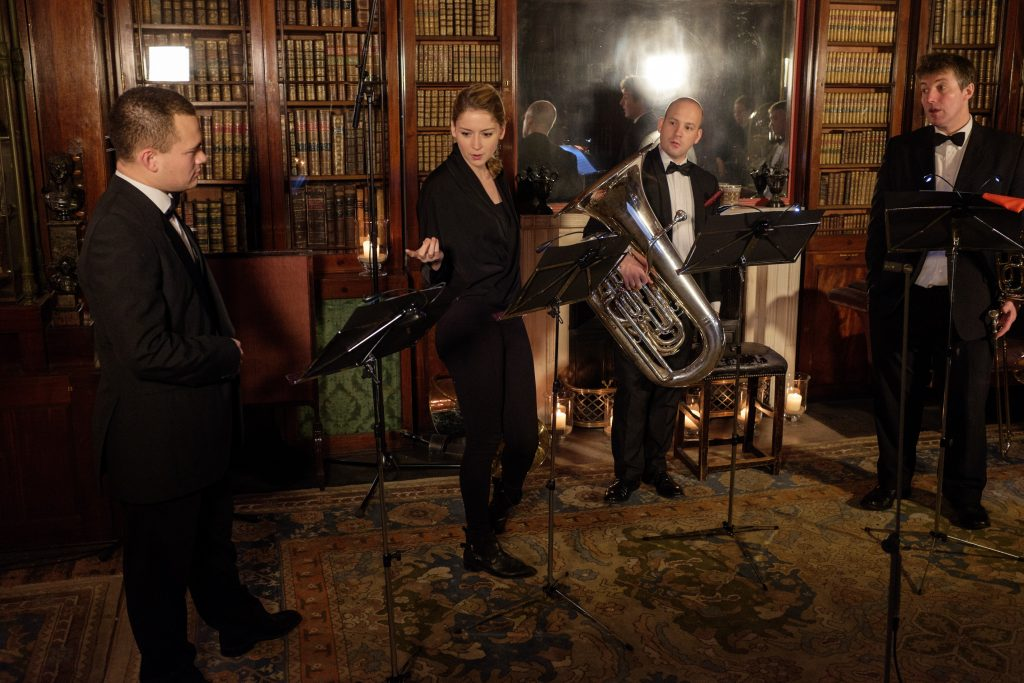 Filming the Christmas Card video with the Philharmonia Orchestra's brass quintet