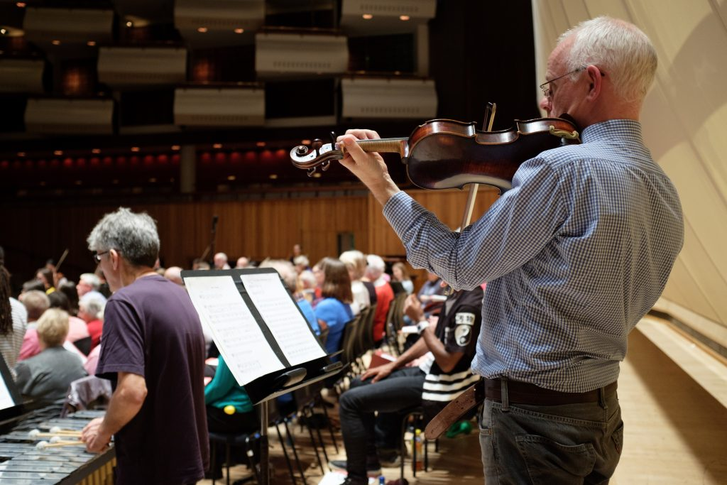 Rehearsal for the Philharmonia Orchestra's Hear and Now community project